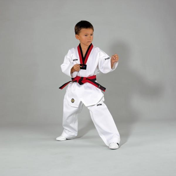 Taekwondo Anzug Victory Poom, weiß m. schwarz/rotem Revers by Kwon
