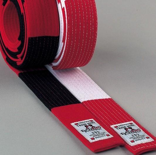 Budo-Gürtel / Dan, 5 cm, rot/weiß o. rot/schwarz