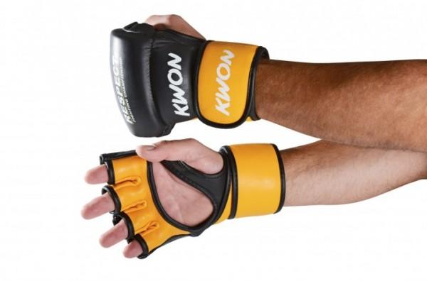 MMA Handschuhe Respect, Leder, Fight Gloves, schwarz und gelb by Kwon