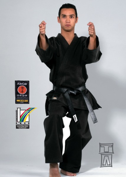 Karate Anzug Traditional schwarz, 12 oz by Kwon