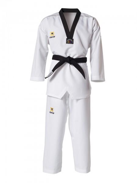 Taekwondo Anzug Fightlite, schwarzes Revers by Kwon