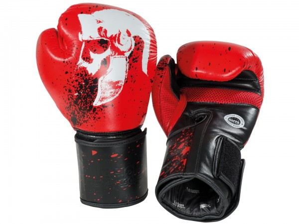 Boxhandschuhe L.O. Leder, rot und schwarz - rot / 12 oz