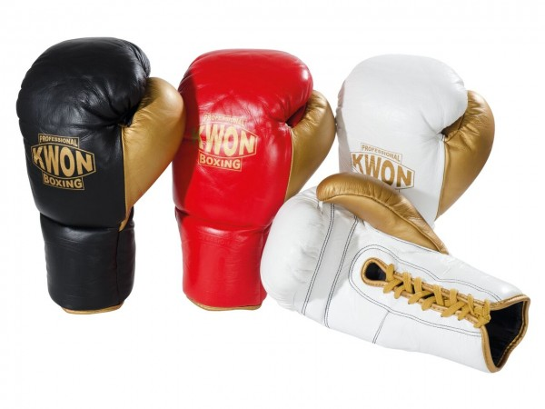 Boxhandschuhe Leder mit Schnürung, Leder, 3 Farben, by Professional Boxing Kwon
