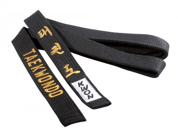 Taekwondo Gürtel schwarz, 4 cm, mit Bestickung by Kwon