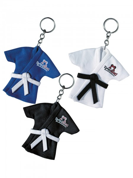 Schlüsselanhänger Minijacken in blau, weiß und schwarz by Danrho